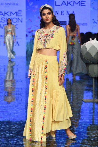 PS-FW720/1  Pale Yellow Colour Georgette Crop Top with Georgette, Organza and Chanderi Asymmetric Skirt