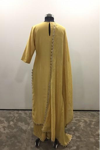 PS-KP0028/A/2  Pale Yellow Colour Silkmul Kurta with Chanderi Stripe Palazzo and Chanderi Checks Dupatta