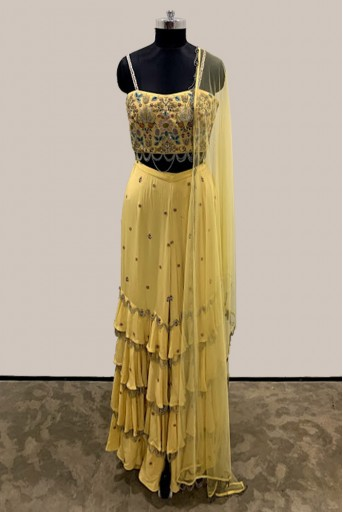 PS-FW536-C-1 Pale Yellow Crepe Bustier with Layered Sharara Pant and Net Dupatta