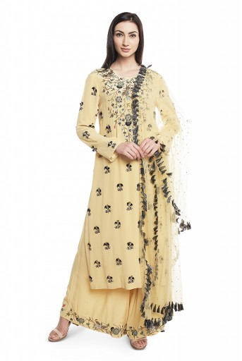 PS-FW603-C-1  Pale Yellow Crepe Kurta with Plaazzo and Mukaish Net Dupatta