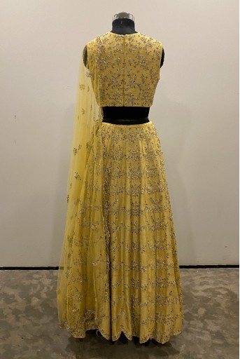 PS-FW578-A-1 Pale Yellow Dupion Silk Choli with Lehenga and Net Dupatta