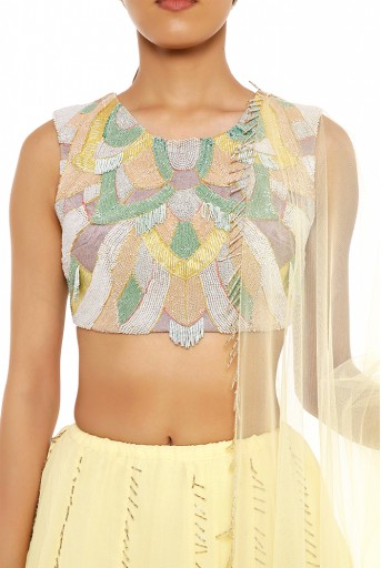 PS-ST1476-1  Pale Yellow Georgette Choli with Lehenga and Net Dupatta