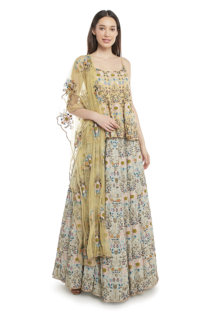 PS-FW542-A-1 Pale Yellow Georgette Short Anarkali Top with Net Dupatta and Periwinkle Blue Georgette Lehenga