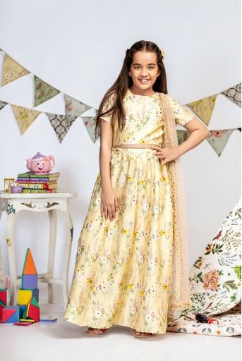 PS-KG0014 Pale Yellow Printed Dupion Silk Choli with Lehenga and Rose Pink Mukaish Net Dupatta