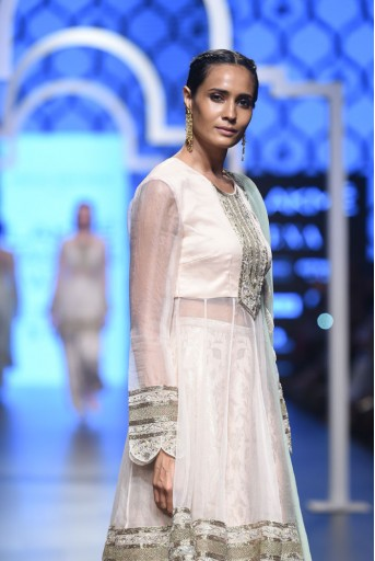 PS-FW482 Pariza Blush Silk and organza Kalidar Kurta with Brocade Palazzo and Mint Chiffon Dupatta