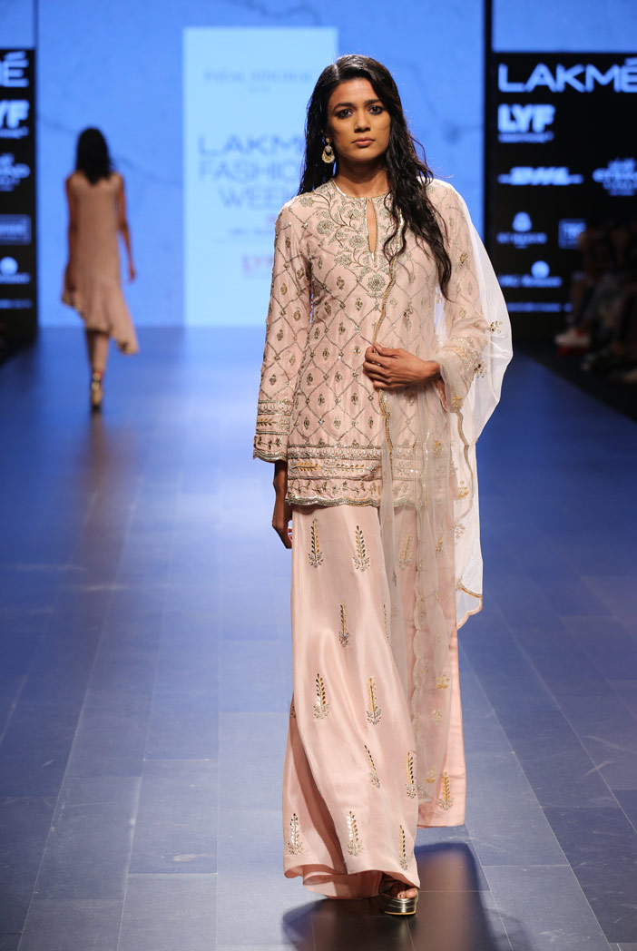 PS-FW402 Parveen Blush Silk Kurta with Palazzo and dove Grey Tulle Dupatta