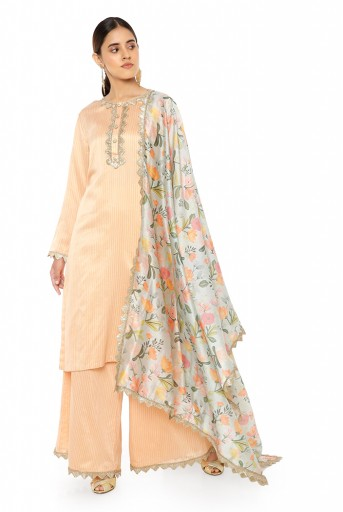 PS-KP0048  Peach Colour Chanderi Stripe Kurta with Palazzo and Aqua Handpaint Printed Silkmul Dupatta with Matching Structured 3 Ply Mask