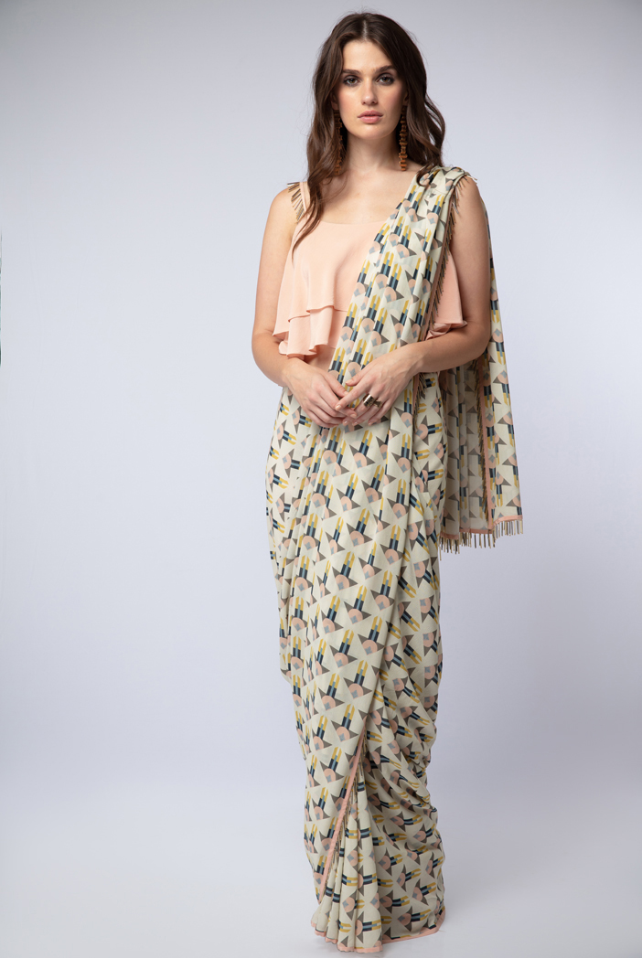PS-ST1207 Peach Crepe Layered Top with Cream Printed Georgette Saree