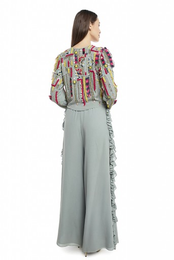 PS-TP0001-B-1 Periwinkle Blue Colour Georgette Crop Top with Palazzo Pant