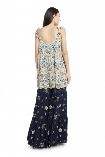 PS-FW538-M  Periwinkle Blue Colour Georgette Short Kalidar with Net Dupatta and Navy Colour Crepe Sharara