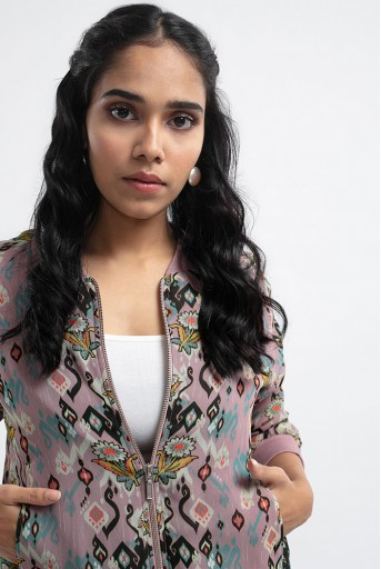 PS-JK0003-F  Pink Colour Printed Art Georgette Bomber Jacket