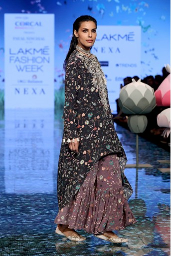 PS-FW705 Pirooz Black Printed Crepe Embroidered Kurta with Purple Printed Crepe Sharara