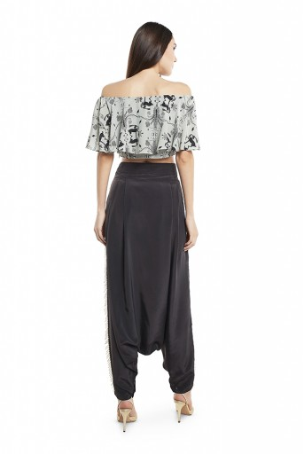 PS-FW425-W  Powder Blue Colour Printed Crepe Off Shoulder Ruffle Top with Black Colour Silk Low Crotch Pant