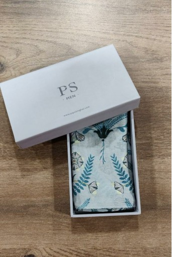 PS-PS089  Powder Blue colour printed silkmul pocket square