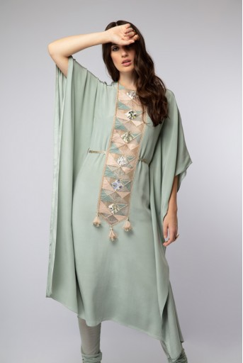 PS-ST1194 Powder Blue Crepe Kaftaan Tunic with Soft Net Churidar