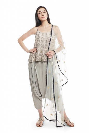 PS-ST1198-C-1  Powder Blue Crepe Short Anarkali Kurta with Silk Low Crotch Pant and Net Dupatta