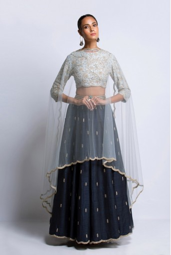 PS-FW411A Powder Blue Dupion silk Choli with Navy dupion Silk Lehenga and Powder Blue Net Dupatta