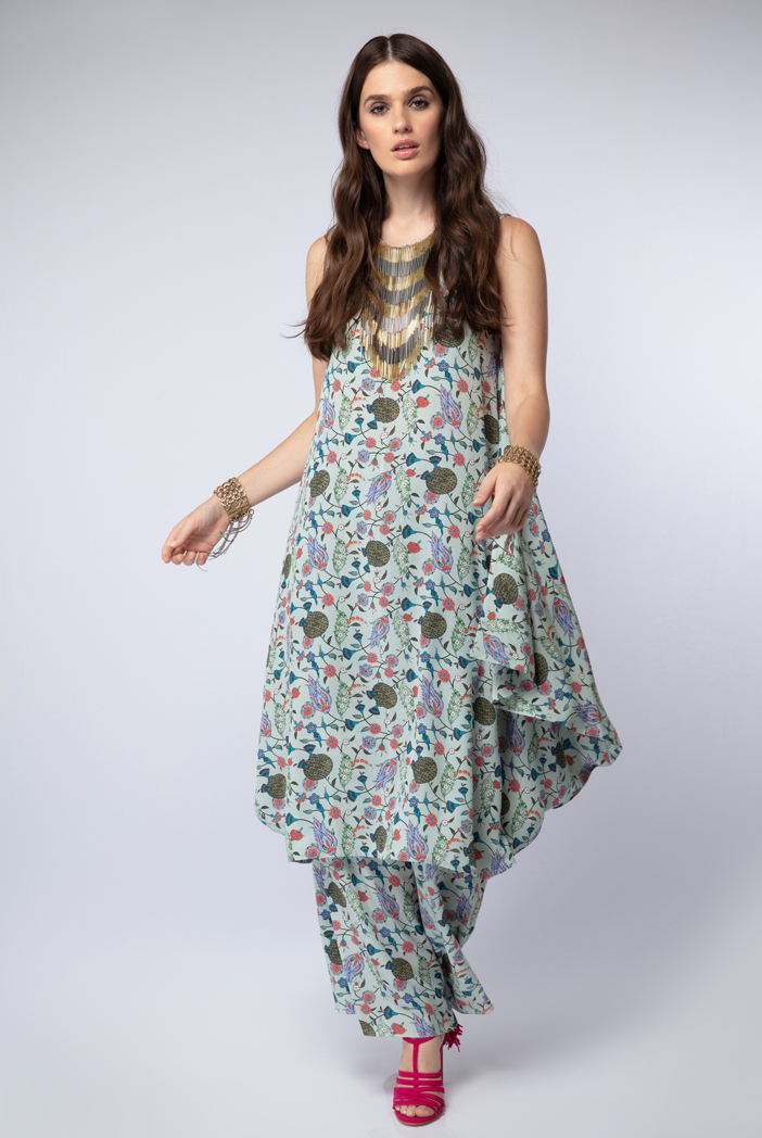 PS-FW439-N Powder Blue Printed Crepe Cowl Kurta with Palazzo Pant