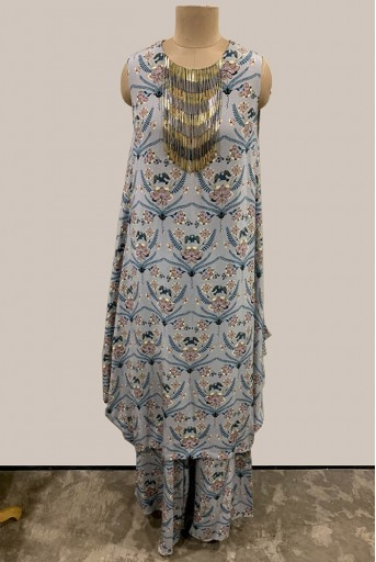 PS-FW439-U-1 Powder Blue Printed Crepe Cowl Tunic with Palazzo
