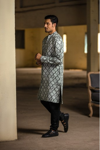 PS-MN027 Powder Blue Printed Silk Kurta with Off White Cotton Silk Churidar