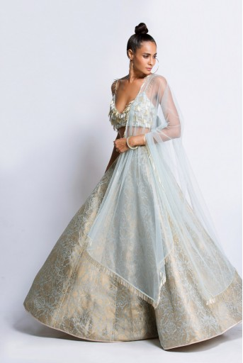 PS-FW432A Powder Blue Silk Choli with Brocade Lehenga and Net Dupatta