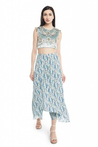 PS-TS0006  Powder Blue Velvet Choli with Blue Printed Crepe Skirt Palazzo
