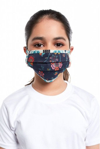 PS-MS0062  PS Kids Navy Spring and Tulip Garden Print Pleated 3 Ply Mask with Pouch for Kids