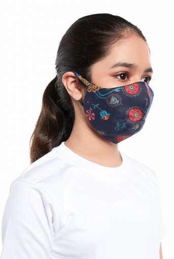 PS-MS0059  PS Kids Navy Spring Print Structured 3 Ply Mask with Pouch for Kids