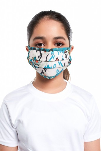 PS-MS0060  PS Kids White and Blue Ikat Love Print Pleated 3 Ply Mask with Pouch for Kids