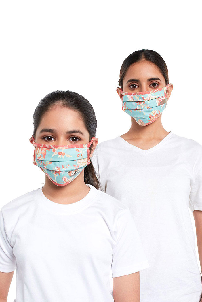 PS-MS0076  PS Masks Twin Set - Aqua and Coral Chidiya Print Pleated 3 Ply Masks with Pouches