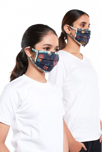 PS-MS0078  PS Masks Twin Set - Navy Spring and Tulip Garden Print Pleated 3 Ply Masks with Pouches