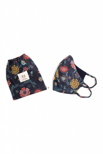 PS-MS0075  PS Masks Twin Set - Navy Spring Print Structured 3 Ply Masks with Pouches