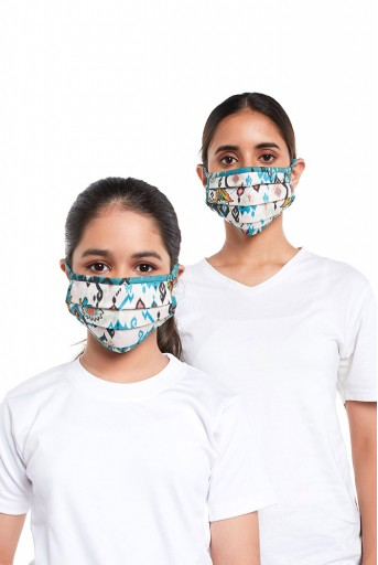 PS-MS0077  PS Masks Twin Set - White and Blue Ikat Love Print Pleated 3 Ply Masks with Pouches
