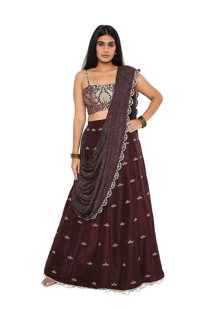 PS-ST1176-1 Puple Silk Brocade Bustier with Silk Lehenga and attached Mukaish Georgette Dupatta