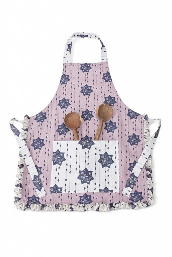 PS-AP0001  Purple and Grey Colour Printed Canvas Apron with Pouch