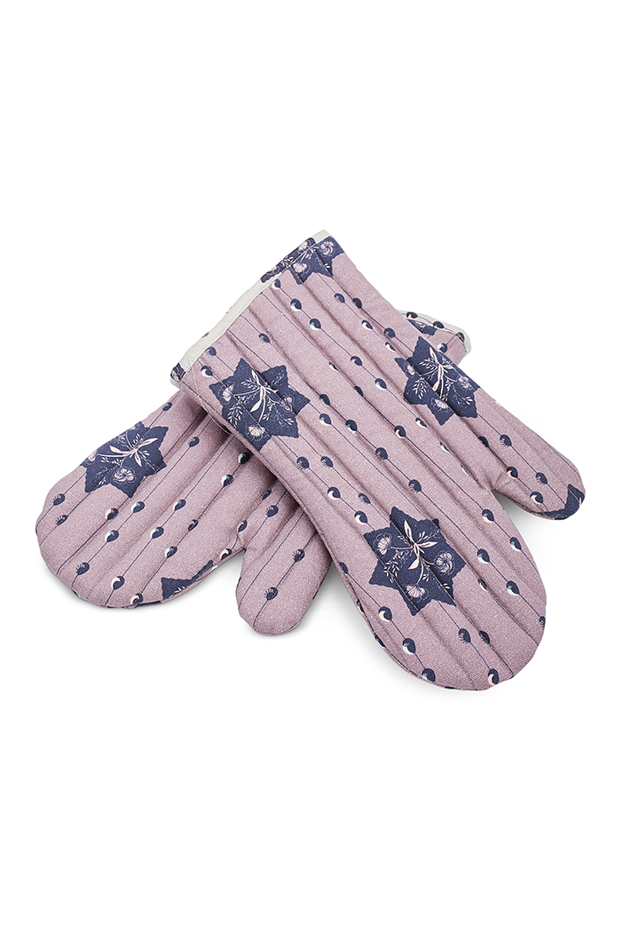 PS-MI0002  Purple Colour Printed Canvas Mittens with Grey Colour Printed Silkmul Piping