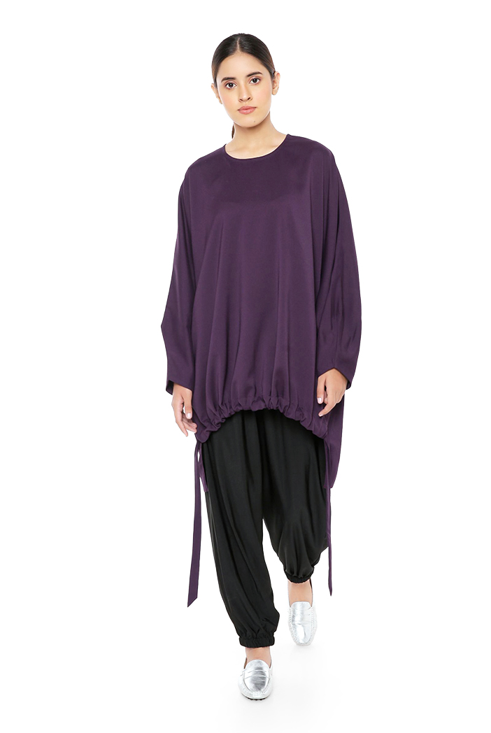 PS-TU1525  Purple Colour Thick Georgette High-Low Kaftaan Tunic