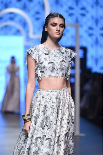 PS-FW464 Rabiya Stone Printed Dupion Silk Choli with Stone and Blush Printed Dupion Silk High-Low Lehenga
