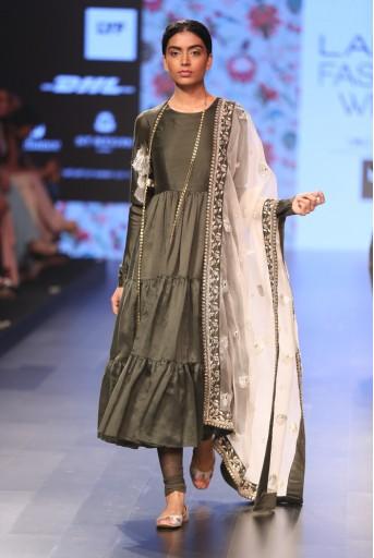 PS-FW382 Radha Moss Green Silkmul Tiered Anarkali with Soft Net Churidar and Blush Organza Dupatta