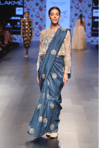 PS-FW389 Rahmat Stone Organza Crop top with Teal Silk Bustier and Saree