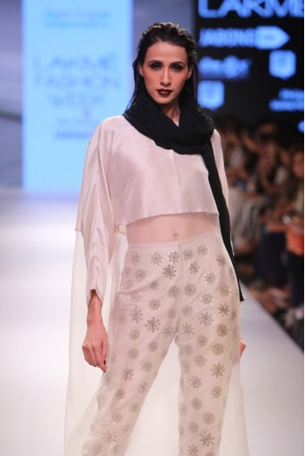 PS-FW353 Raneem Stone Silk and Organza Tunic with Stone Dupion Silk Pant and Black Chiffon Dupatta
