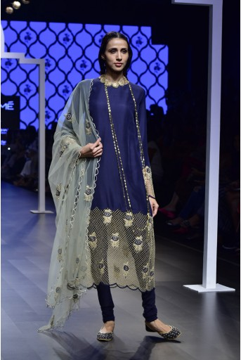 PS-FW487 Rasha Navy Silk Kurat with Soft Net Churidar and Mint Net Dupatta