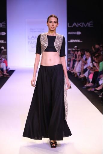 PS-FW231 Rayna Black Linen Choli with Sharara Pant and Stone net Dupatta Jacket