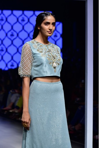 PS-FW474 Rehana Powder Blue Silk Choli with Mukaish Georgette Skirt and Soft Net Churidar