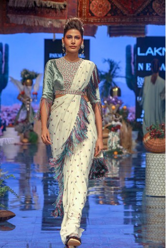 PS-FW640 Reyna Periwinkle Blue Velvet Choli with Chalk White Georgette Saree