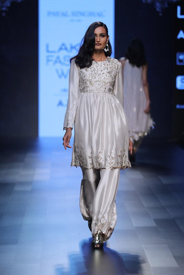 PS-FW421 Rita Stone Silk Short Anarkali with Palazzo
