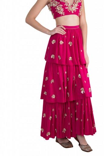 PS-FW593 Riza Hot Pink Crepe Choli with Layered Sharara Pant