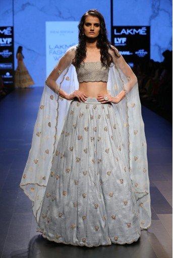 PS-FW406 Roohi Powder Blue Dupion Silk Bustier and Lehenga With Organza Dupatta