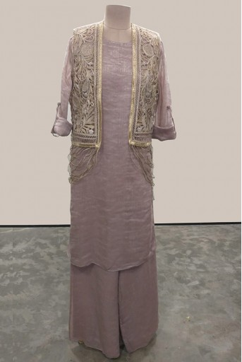 PS-FW565-A-1 Rose Pink Chanderi Stripe Kurta and Palazzo with Stone Organza Waish Coat