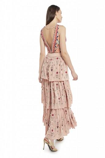 PS-FW625-B  Rose Pink Colour Crepe Choli with Layered Sharara